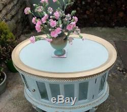 Vintage Peint Ovale En Forme De Boissons Cabinet / Side Table-laurel Green-rust Oleum