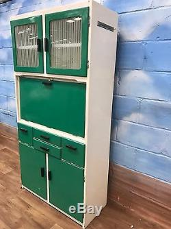 Vintage Retro 50's 60's Kitchenette Armoire De Rangement En Vert Et Blanc