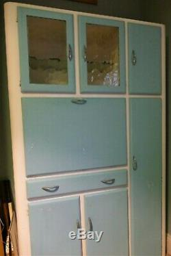 Vintage Retro Bleu Cuisine Larder Garde-manger Cabinet Unité Recueille 1950s1960s York