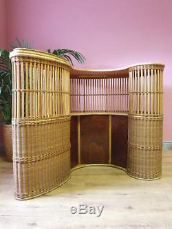 Vintage Rétro Des Années 50 Années 60 Style De Tiki De Bambou Courbé Cocktail Boissons Cabinet Home Bar