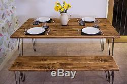 Vintage Retro Hairpin Leg Industrial Rustic Reclaimed Dining / Kitchen Table
