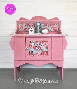 Vintage, Rose, Lavabo, Peint À La Main, Armoire, Buffet, Flamant Rose, Placard