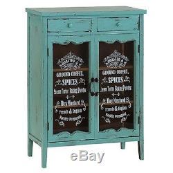 Vintage Shabby Chic Armoires De Rangement Cabinet En Bois 2 Portes En Verre Bleu