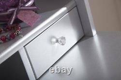 Vintage Silver Style Coiffeuse Rembourré Tabouret Miroir Ovale Caleçons De