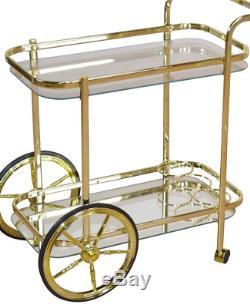 Vintage Tea Chariot Table D'appoint Mobilier Étagères En Métal D'or En Verre Boissons Stockage