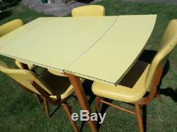 Vintage Teck Et Jaune Mélamine / Formica Table À Manger + 4 Chaises 1960 Nr Croydon