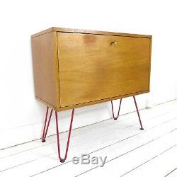 Vintage Teck Record / Boissons Jambes Cabinet Red Hairpin Milieu Du Siècle Bois Enfilade