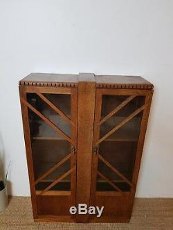Vitrine Antique Vintage En Chêne Et Verre