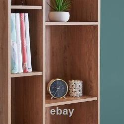 Vonhaus Capri Split Shelf Unit Oak Effect Book Case 9 Tier Shelves Rétro Style