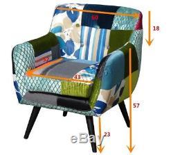 Westwood Patchwork Chaise Tissu Vintage Fauteuil Siège Mobilier De Bureau Pc029