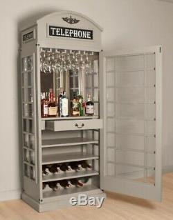 White Star Drinks Cabinet Iconic Bt Barre De Style De Boîte Téléphonique En Gris Pierre